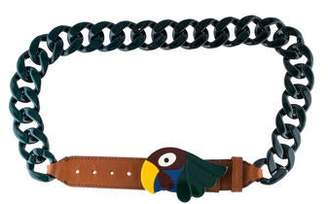 Prada Leather-Trimmed Parrot Chain Belt
