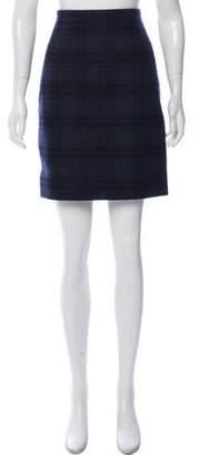 Akris Wool Plaid Skirt Navy Wool Plaid Skirt