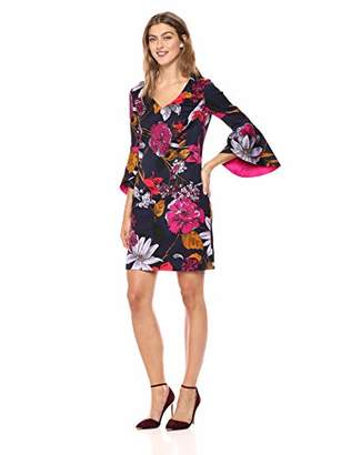 Trina Turk Women's Cheers V Neck Bell Sleeve Dress