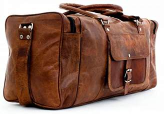 Touch of Leather 24 Inch Square Duffel Travel Gym Sports Overnight Weekend Leather Bag Luggage
