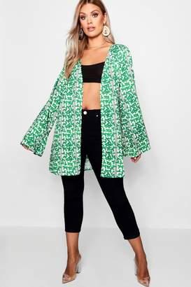 boohoo Plus Stripe + Leaf Print Kimono