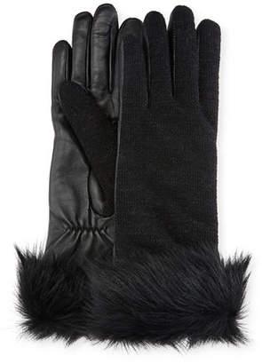 UGG Knit & Leather Gloves w/ Fur Cuffs