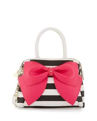 Betsey Johnson Ready Set Bow Striped Satchel Bag, Stripe Fuchsia $95 thestylecure.com