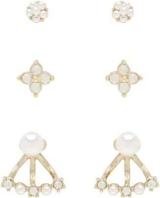 Dallas Diamante & Pearl 3 Pack Earrings