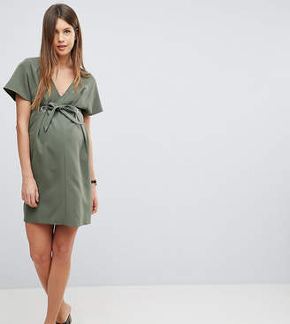 Asos V Neck Column Mini Dress with Eyelet and Tie