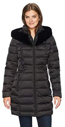 Lark & Ro Women's Faux Fur Shawl Hood Puffer Coat