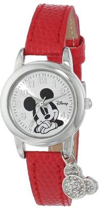 Disney Women's MK1042 Mickey Mouse Watch with Red Leather Band