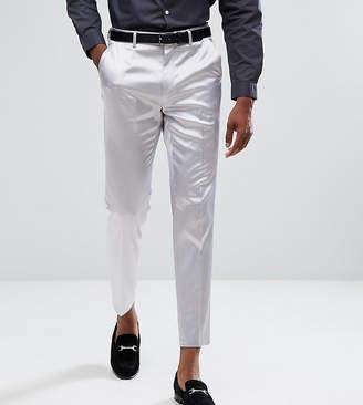 Asos Design Tall Wedding Skinny Crop Smart Pant In Lilac Sateen