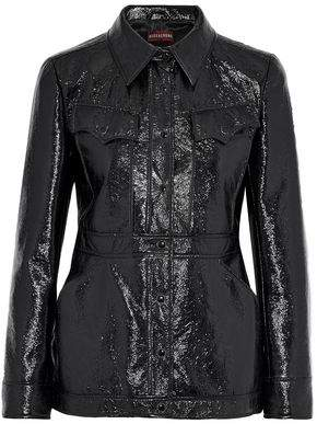 ALEXACHUNG Crinkled Faux Patent Leather Jacket