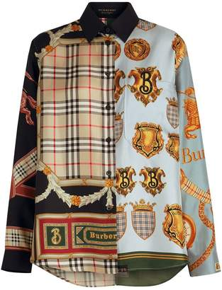 Burberry Archive Scarf Print Silk Shirt