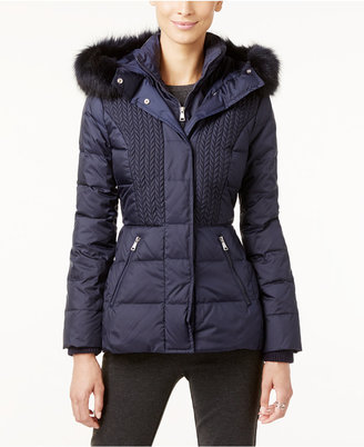 Jones New York Faux-Fur-Trim Hooded Quilted Puffer Coat $300 thestylecure.com