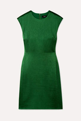 Theory Hammered-satin Mini Dress - Dark green