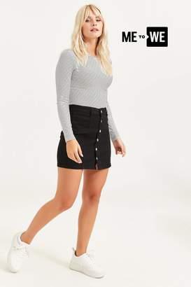 Ardene Basic Jean Buttoned Mini Skirt