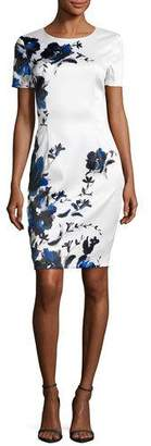 St. John Collection Spring Blossom Short-Sleeve Dress, Blue Pattern $995 thestylecure.com