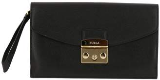 Furla Clutch Metropolis Envelope Clutch Bag In Textured Leather