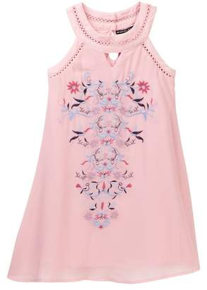 My Michelle mymichelle Front Keyhole Floral Embroidered Dress (Big Girls)