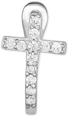 Macy's Diamond Accent Cross Single Hoop Earring in 14k White Gold