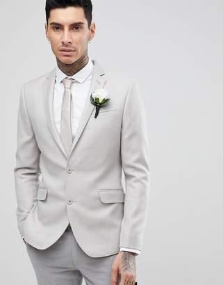 Asos DESIGN WEDDING Skinny Blazer In Putty 100% Merino Wool