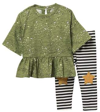 Jessica Simpson Slub Peplum Top & Leggings Set (Baby Girls)