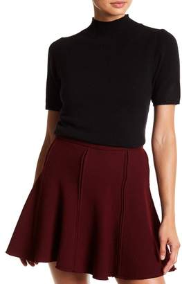 InCashmere In Cashmere Short Sleeve Mock Neck Cashmere Sweater