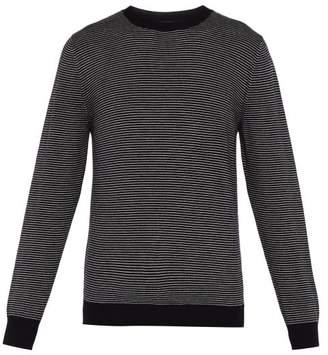 A.P.C. Fine Striped Crew Neck Sweater - Mens - Navy Multi