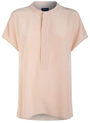 Polo Ralph Lauren Silk Collarless Blouse