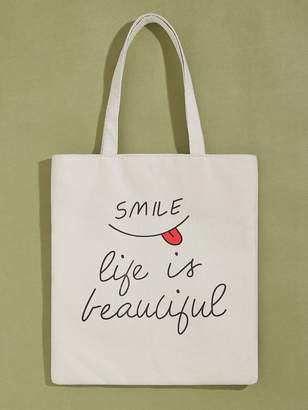 Shein Slogan Graphic Book Bag