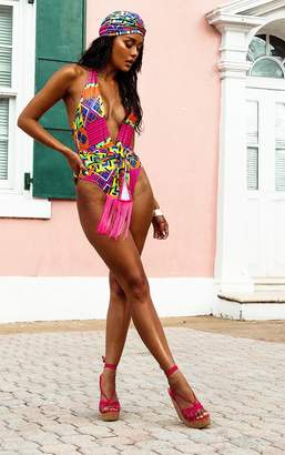 PrettyLittleThing Multi Geo Belted Swimsuit