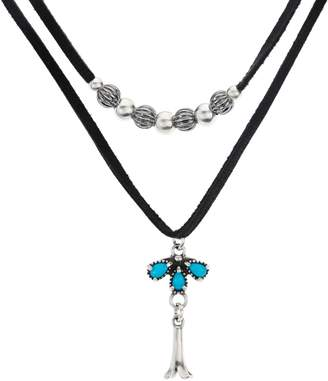 American West Sterling & Leather Double Row Necklace