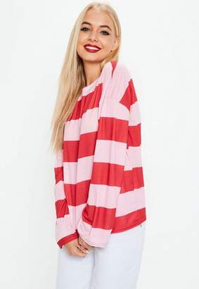 Missguided Pink Red Large Stripe T Shirt