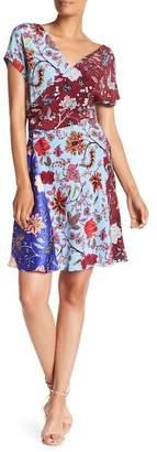 Diane von Furstenberg Short Sleeve Draped Dress