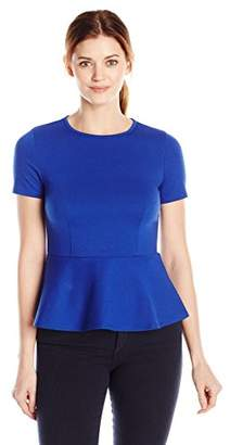 Lark & Ro Women's Ponte Short Sleeve Peplum Top