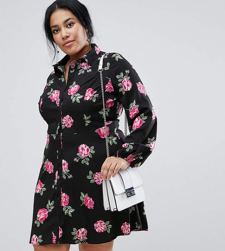 Influence Plus floral skater shirt dress