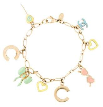 Chanel Enamel Charm Bracelet Gold Enamel Charm Bracelet