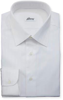 Brioni Tonal-Stripe Cotton Dress Shirt, White