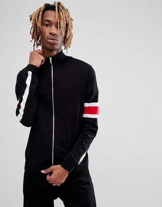Asos Knitted Track Jacket With Striped Sleeves In Black
