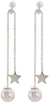 Kenneth Jay Lane CZ by Cubic zirconia star glass pearl chain drop earrings