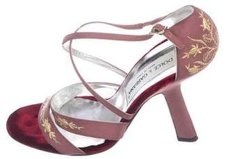 Dolce & Gabbana Satin Cross-Strap Sandals