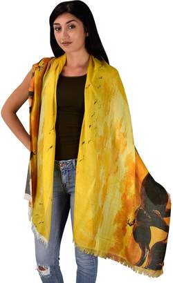 Couture Peach Womens Soft Fashion Artistic Digital Print Long Scarf Wrap Shawl
