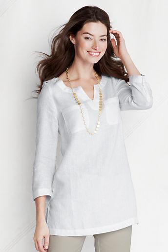 Lands' End Women's Petite Bracelet Sleeve 2-pocket Linen Tunic