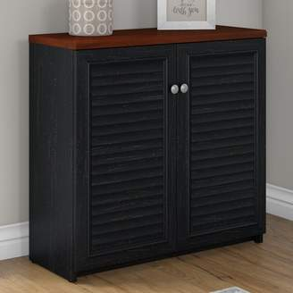 URBAN RESEARCH Bush Furniture Fairview Small Storage Cabinet with in Antique Black and Hansen Cherry