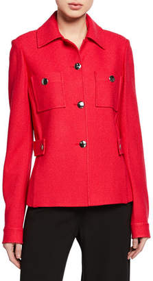 St. John Gail Button-Front Jacket with Chest Patch Pockets