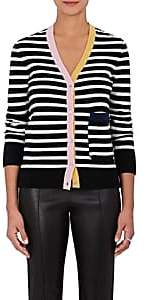 Lisa Perry WOMEN'S STRIPED CASHMERE CARDIGAN-BLACK, IVORY, PINK, YELLOW, NAVY SIZE M