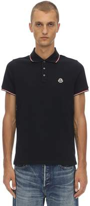 Moncler Logo Patch Cotton Pique Polo Shirt