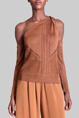 Freya Cushnie Cola Champagne Cold Shoulder Knit Top