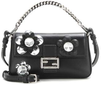 Fendi Micro Baguette crystal-embellished leather shoulder bag
