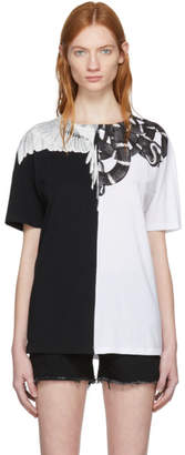 Marcelo Burlon County of Milan White and Black Snake Wing T-Shirt