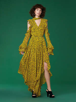 Diane von Furstenberg Ruffle Sleeve High Low Maxi Dress