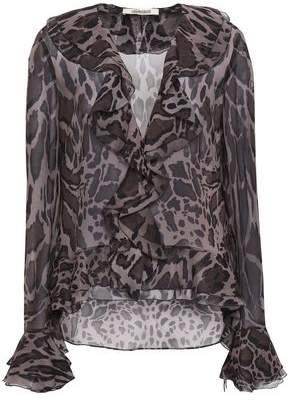 e7e67279a260b4 Roberto Cavalli Ruffled Leopard-print Silk-chiffon Blouse