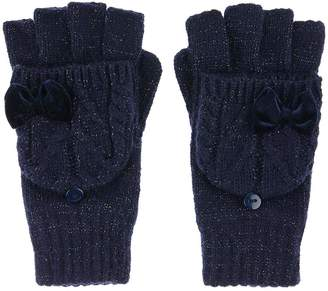 Monsoon Girls Ellie Velvet Bow Cable Capped Glove